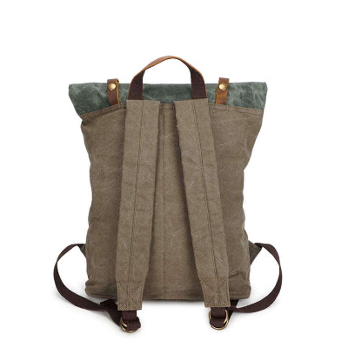 Army Green + Coral cyan, 31 /× 12 /× 42cm Sac /à dos pour homme en toile sac /à dos cheval fou sac en cuir sac de voyage vintage sac de voyage pour homme sac /à dos imperm/éable /à leau