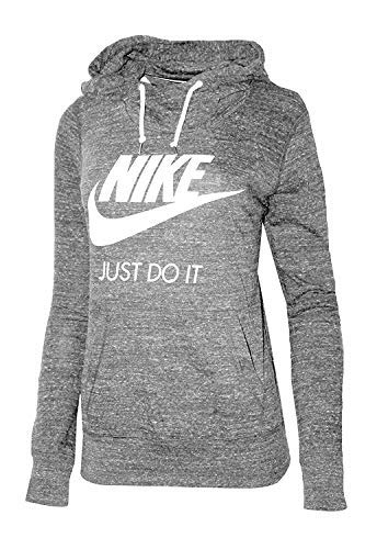 Nike Womens Gym Vintage Pullover Hoodie Carbon Heather/Sail 823701 091 (xs)