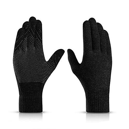 Vanteen Touch Screen Winter Gloves for Women Men Anti-Slip Silicone Gel Texting (Black)