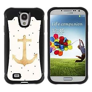 "Hypernova Defender Series TPU protection Cas Case Coque pour Samsung Galaxy S4 IV I9500 [Dot ancla del oro Marinero Capitán""]"