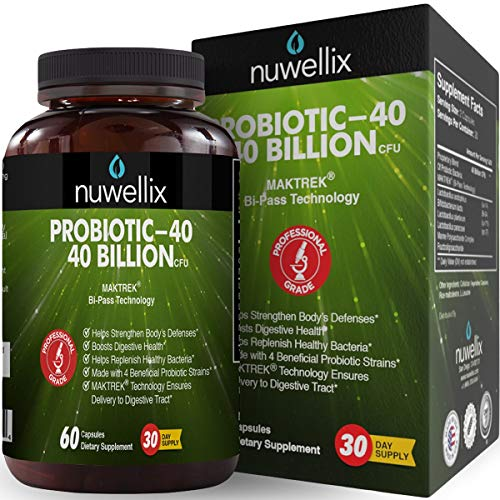- Nuwellix Probiotic Supplement for Men and Women - 40 Billion CFU/g Healthy Probiotic Bacteria - Shelf Stable with Lactobacillus Acidophilus - Supports Digestive Health and Weight Loss - 60 Vegetarian