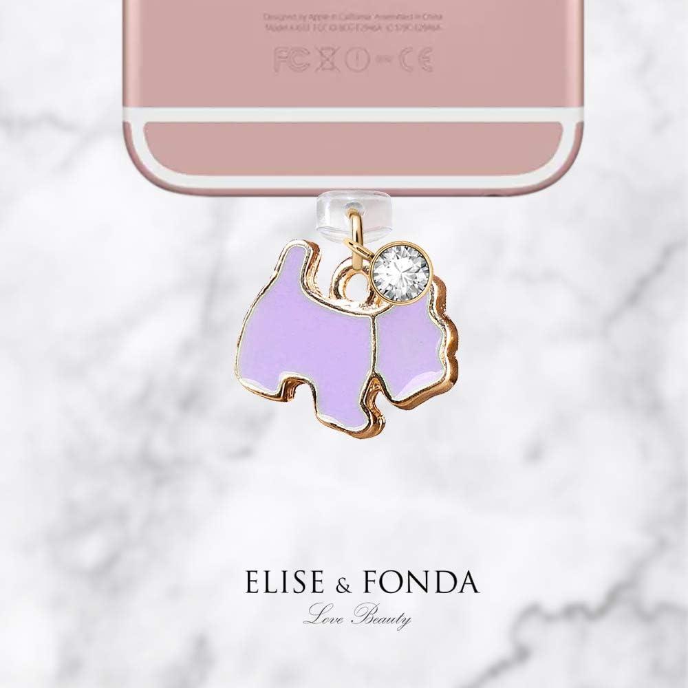 Purple ELISE /& FONDA CP174 USB Charging Port Anti Dust Plug Cute Tiny Dog Pet Pendant Phone Charm for iPhone 11// XS MAX//XR//X//8 Plus//7//6S//7//SE iPad iPod