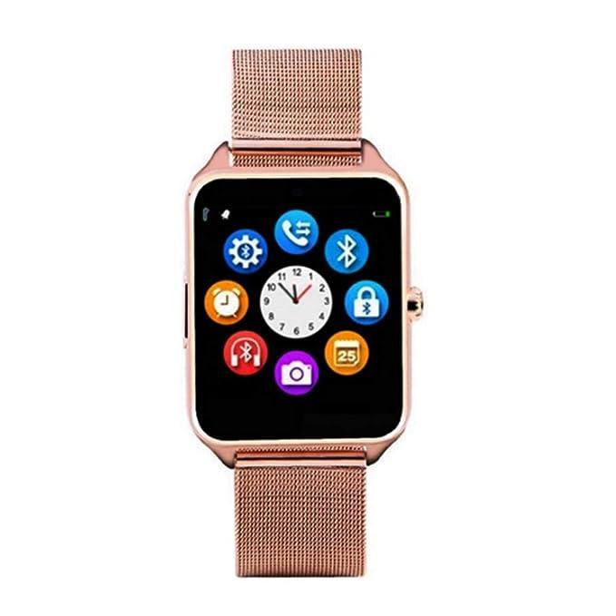 Z60 1.54 Pulgadas Pantalla Reloj Inteligente Bluetooth con cámara Soporte Tarjeta SIM TF Reloj Banda de Acero para iOS para Android (Dorado): Amazon.es: ...