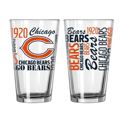 2015 NFL Football Spirit Series Beer Pints - 16 ounce Mixing Glasses, Set of 2 (Bears)