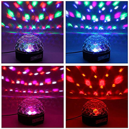 YouOKLight Sound Activated 6 Color LED Music Crystal Magic Ball MP3 Disco DJ Stage Lighting with Remote Control for Home Room Dance party Birthday Gift Kids Club Wedding Decorations by YouOKLight (Image #5)