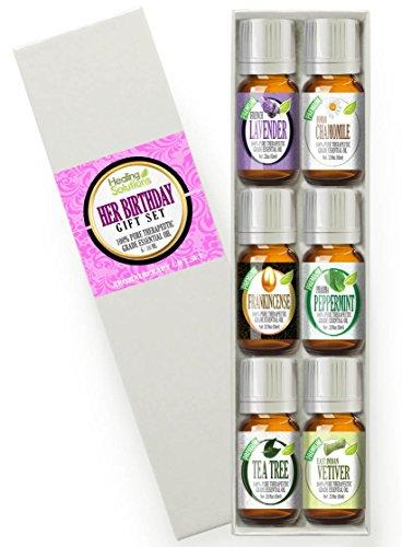 Cadeau d'anniversaire pour son Set Kit de huile essentielle 100 % Pure, meilleures thérapeutiques de qualité - 6 / 10mL (encens, Français lavande, menthe poivrée, camomille romaine, arbre à thé et vétiver)