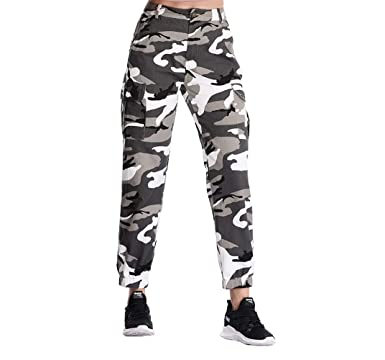 7bb823ef3012d ZODLLS Women's Camouflage Camo Pants Cargo Trousers Cool Pants High Waist  Casual Multi Outdoor Jogger Pants