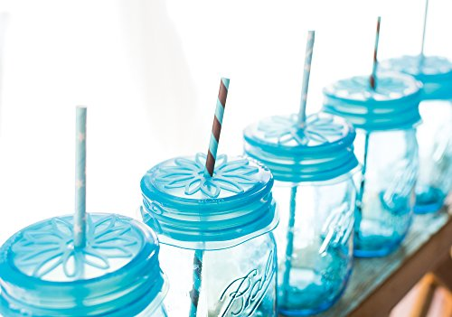 Blossom Mason and Canning Jar Sipping and Drinking Lid Caps, Silicone, For Wide Mouth Size Mason Jars, 4-Inches; Blue; Set of 4 by Spice Ratchet (Image #4)