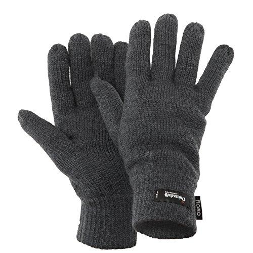FLOSO® Herren Thermo Strick-Handschuhe Thinsulate (Einheitsgröße) (Grau)