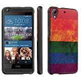 HTC Desire 626 / 626S Case, [SkinGuardz] Black Form Fit Fancy Protection Case - [Vintage Rainbow Flag] Print Design