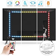 Zerproc Smart RGB Strip Lights, 6.56ft 60 LED USB Flexible Lights Strip Controlled by Voice Sensor Controller and IR Remote Control, Waterproof IP65 Dimmable Strip lights Kit for TV, Desktop, KTV, Bar