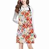 InterestPrint Flowers with Moroccan Tile Quatrefoil Kitchen Apron - Mens and Womens Bib Apron - Adjustable with Pockets for Cooking Baking Gardening, Large Size