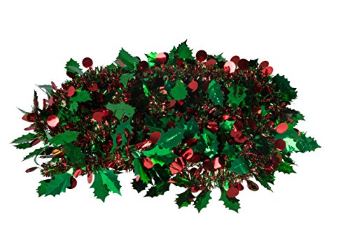 Christmas Tinsel Style Garland by Clever Creations | Festive Holiday Décor | Shiny Red and Green Tinsel Body with Larger Mistletoe Leaves and Berries | 4 Pack | Classic Traditional Theme | 6.5' Long (Long Tinsel)