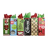Arts & Crafts : Wine Bottle Holiday Gift Bags with Tissue Paper (6 Bottle Bags + Tissue, Holiday Cheer)
