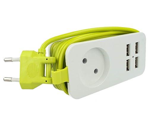 Regleta eléctrica cargador 4 puertos USB 5 V 2,4 A Fast Charge 1 ...