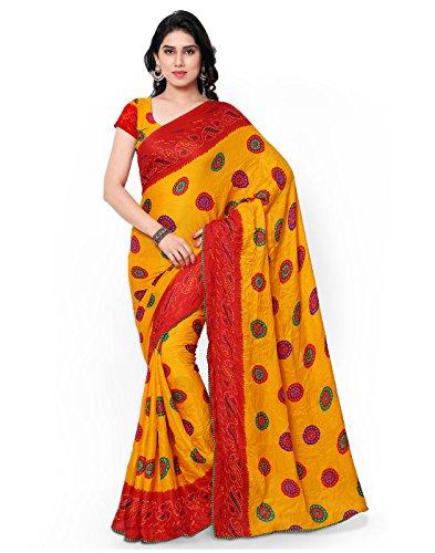Yellow Sari (Janasya Women's Yellow Crepe bandhani)