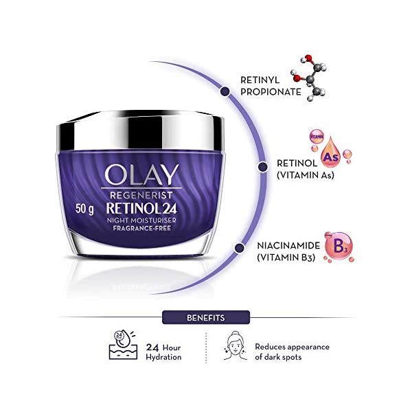 Olay Night Cream: Regenerist Retinol 24 Moisturiser, 50 g 2021 June Skin type: suitable for all skin types, oily, dry & combination Wake up to plumper, younger-looking skin with Olay Retinol24! Renews and resurfaces skin as you sleep, with 24-hour hydration