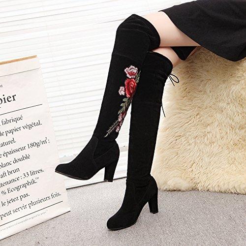 KHSKX-Die Neuen Schuhe Und Stiefel Mit Groben Elastischen Knie Stiefel Thirty-seven