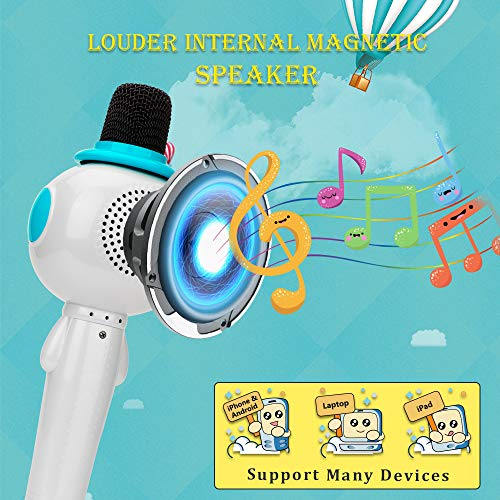 BONAOK Kids Wireless Bluetooth Karaoke Microphone with Magic Sound & Colorful LED light, 5 in 1 Portable Handheld Party Karaoke Speaker Machine New Year Gift for Android/iPhone/iPad/PC (Blue) by BONAOK (Image #4)