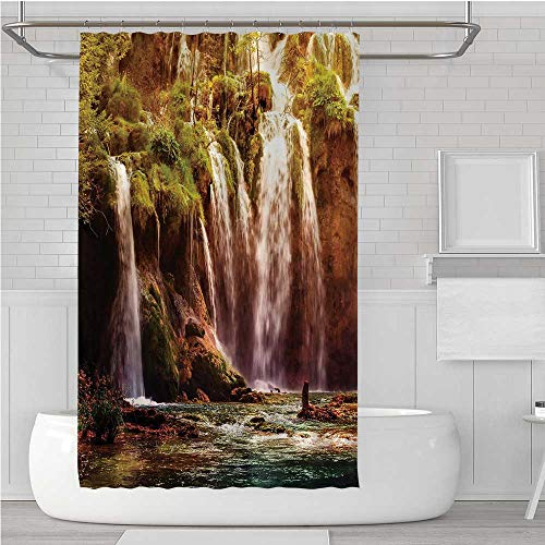 (C COABALLA Nature Decor Ultra Soft Shower Curtain,Waterfall Forest Tree Moss Lake Stones Rocks Wonder of The World Image for Showers Stalls,72''W x 72''H )