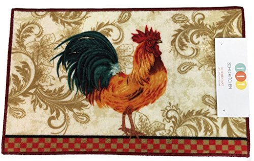 Soho Rooster Kitchen Rug With Non Skid Back