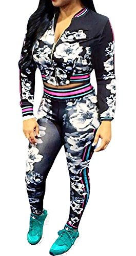 FISACE Women's Long Sleeve Zip Up Floral Sweatsuit Sweatpant Set (Sexy Pants Suits)
