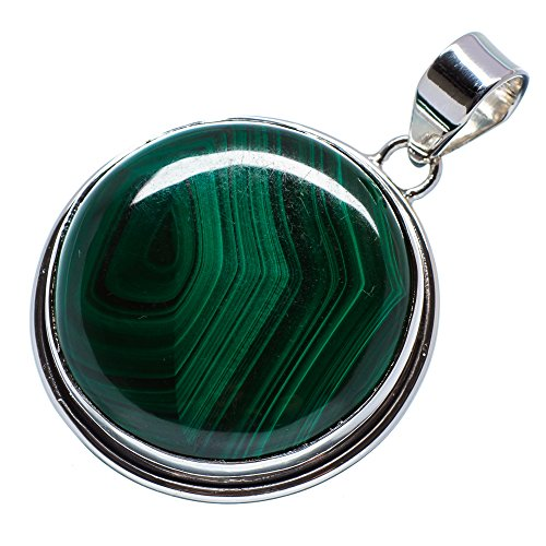Malachite 925 Sterling Silver Pendant 1 3/4