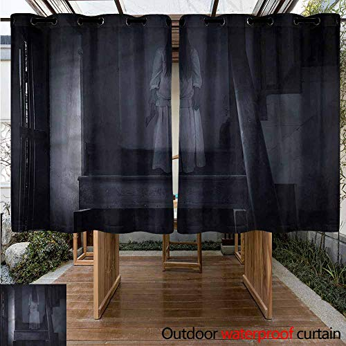 Sunnyhome Outdoor Curtain Panel for Patio Halloween Ghost Girl on Stairway Waterproof Patio Door Panel W 55