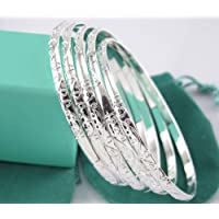 by lucky Lots 5pcs 925 Sterling Silver Carving Womens Cuff Bracelet Bangle Jewelry Gift