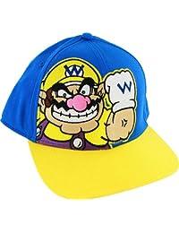 Nintendo Super Mario Bros Wario Blue Adjustable Flatbill Baseball Cap Hat
