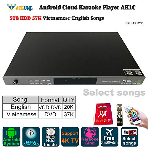 - 5TB HDD 57K Songs Android Karaoke Player/Jukebox 37K Vietnamese DVD Songs 20K English VCD DVD Songs, Cloud Download,Watching TV,KODI,YouTube Songs Could be selected