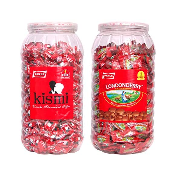Parle Kismi Elaichi Tofee & Parle Londonderry Lacto Bonbon Rich Milk Candy 600+ Toffee in Combo Pack.