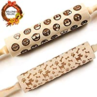 """16.9"""" Embossed Rolling Pin for Cookies with Designs 3d Rolling Pin Reindeers Christmas Gift"""