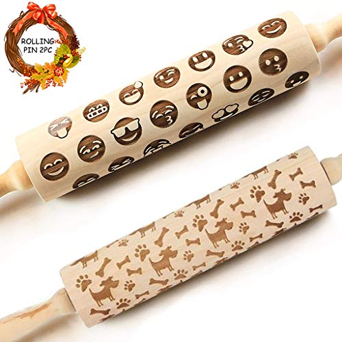 Wooden Rolling Pins with Designs Patterns for Baking 3D Rolling Pin Set Dog Emoji