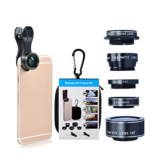 GUANZHI Phone lens 5 in 1 HD Camera Lens Kit 198 Degree Fisheye Lens/0.63x Wide Angle/15x Macro Lens/2X Telephoto Lens/CPL Lens for iPhone 6/6s Plus SE Samsung Galaxy S7/S7 Edge - Lens Try Virtual