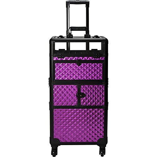 SUNRISE Nail Case on Wheels 2 in 1 I31064 Professional Organizer, 54 Bottle Capacity, 6 Trays, 4 Wheel Spinner, Locking with Mirror and Shoulder Strap, Purple Diamond by SunRise