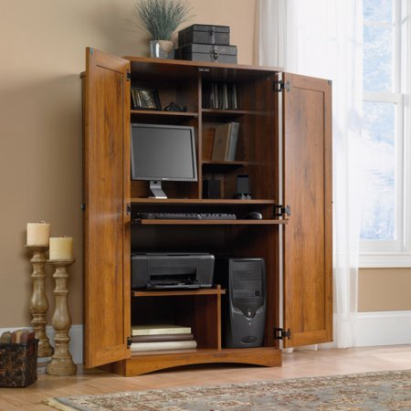 Computer Armoire, ?rganize PC Components, Solid Look, Clean For Media, Display and Storage, Monitor, Printer, Speakers, Metal Runners, Horizontal Rack, Two Doors Fold, Decor With The Golden Tones by AVA Furniture