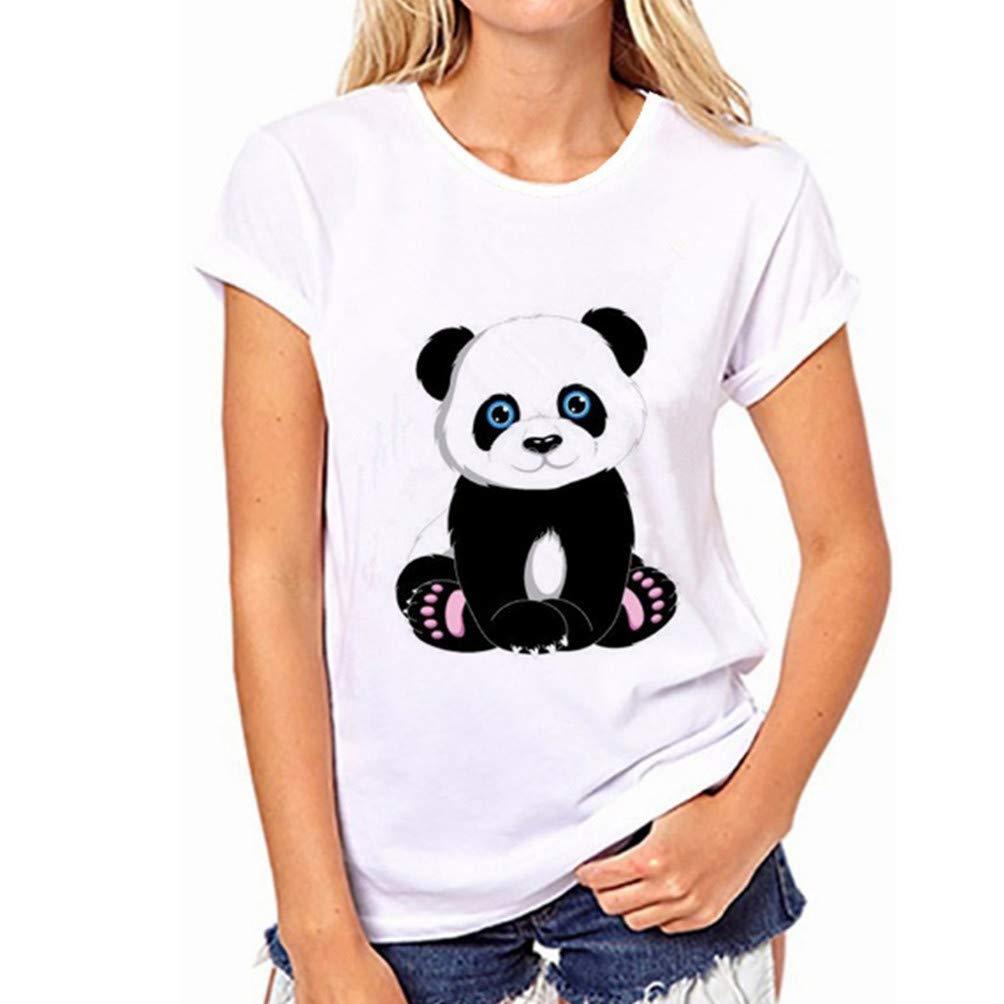 Harddo Panda Printing T-Shirts Frauen M/ädchen Sommer Baumwolle Kurzarm Tops Lustige Junioren T-Shirt Kurzarm T-Shirts