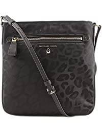 Kelsey Animal Print Nylon Large Crossbody Handbag in Black