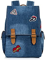 Leaper Vintage Denim Laptop Backpack School Bag Drawstring Bag Shoulder Daypack