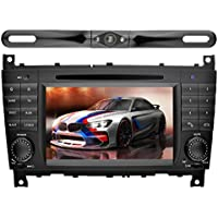 YINUO 7 inch 2 Din Android 7.1.1 Quad Core Car Stereo HD Touchscreen Car Radio Receiver DVD GPS Navigation for Benz C-Class W203 (2004-2007)/Benz CLK W209(2004-2005) with Backup Camera