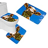 oFloral 3 Pieces Bathroom Rugs Cows Animals Bath Mat,One Contour Rug and One Toilet Lid Cover
