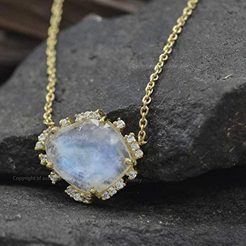 Genuine Moonstone Gemstone Designer Charm Pendant Solid 14k Yellow Gold Necklace Diamond Pave Jewelry ()