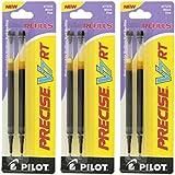 Pilot Precise V7 RT Liquid Ink Retractable Rollerball Pen Refills, 0.7mm, Fine Point, Black Ink, Pack of 6