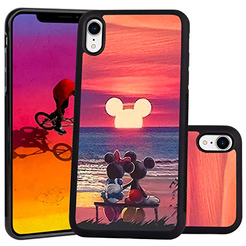 DISNEY COLLECTION Mickey Mouse Sunset Design for Apple iPhone Xr (2018) 6.1-Inch Case Soft TPU and PC Tired Case Retro Stylish Classic Cover