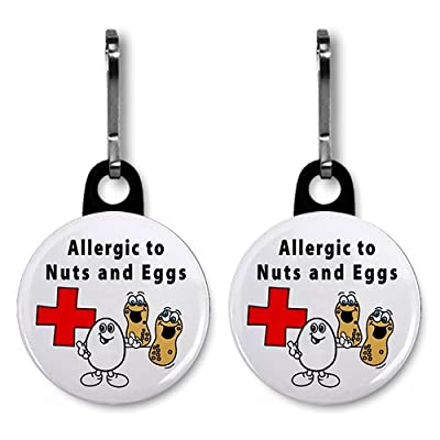 2 x Allergies to NUTS and EGGS Medical Alert 2.5cm Zipper Pull Charms