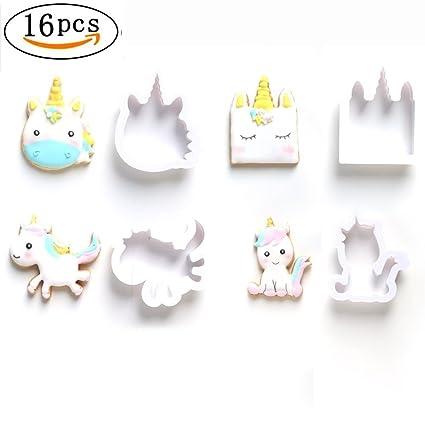 16 moldes para galletas de unicornio en relieve para decoración de tartas