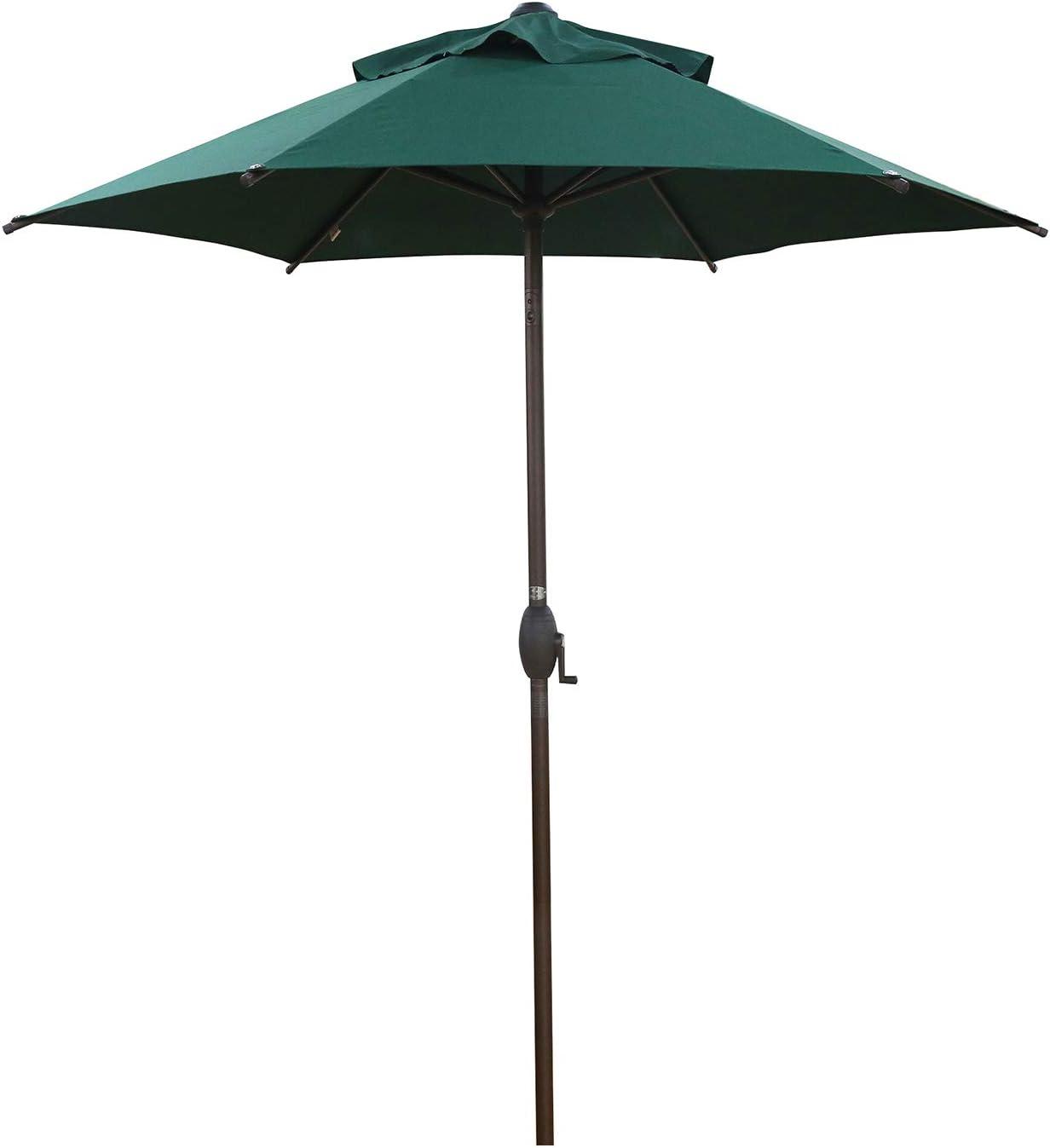 Abba Patio 7.5' Patio Umbrella Market Umbrella Outdoor Table Umbrella with Push Button Tilt & Crank for Patio, Dark Green