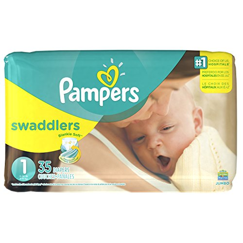 Pampers Swaddlers Disposable Diapers Newborn Size 1 (8-14 lb), 35 Count, (Swaddlers Jumbo Pack)