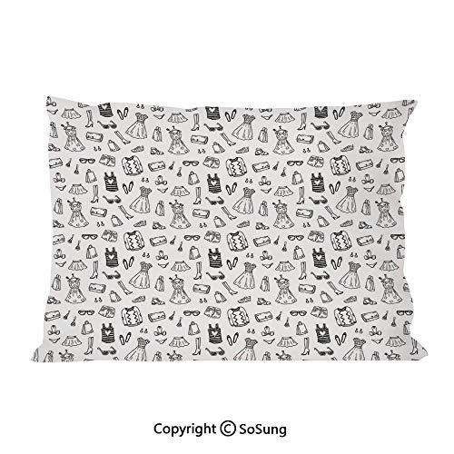 Heels and Dresses Bed Pillow Case/Shams Set of 2,Female Fashion Themed Pattern Sketch Cartoon Style Doodle Garments Decorative King Size Without Insert (2 Pack Pillowcase 36